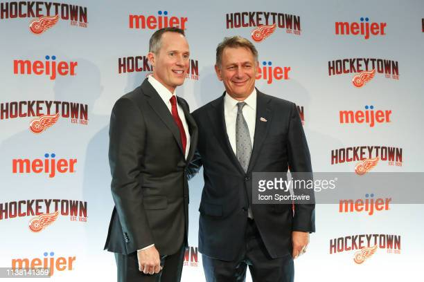 From the left Detroit Red Wings Governor President and CEO Christopher Illitch and Ken Holland pose for photographs during a press conference to...