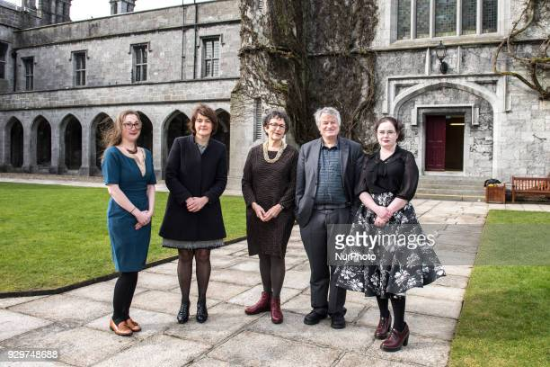 from the left Dr Eilionóir Flynn Prof Siobhan Mullally Prof Carol Sangler Less Allamby outside of the Aula Maxima before the event About Abortion the...
