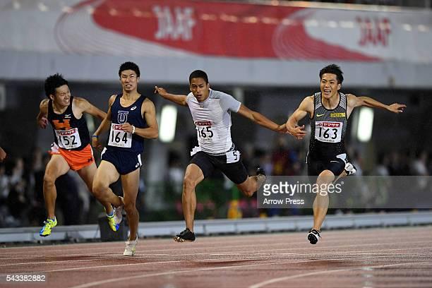 From the left Kazuma Oseto of Japan Yoshihide Kiryu of Japan Cambridge Aska Antonio of Japan Ryota Yamagata of Japan competes in Men's 100m Final...