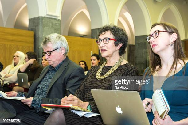 From the left Less Allamby Prof Carol Sangler Dr Eilionóir Flynn listen to Speech of Siobhan Mullally director Irish Centre for Human Rights at NUI...