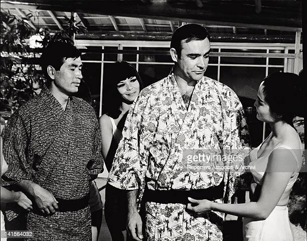 From the left the actors Tetsuro Tanba Jeanne Roland and Sean Connery who plays the role of secret agent James Bond in a scene of 'You only live...
