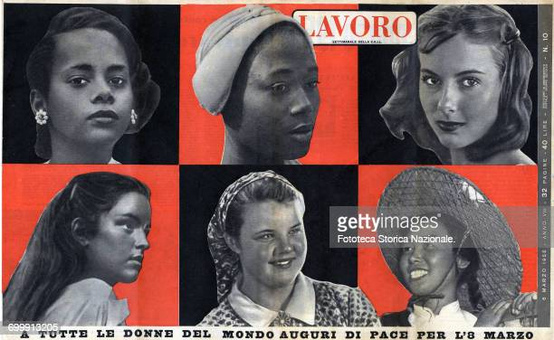 From the magazine 'Lavoro' title on cover and on backcover Pictured women of all ethnicities From 'Lavoro illustrated weekly of the CGIL' Italy Rome...