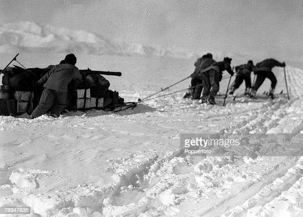 From the Ponting Collection Captain Robert Falcon Scott Photographer Scotts Antarctic Expedition 1910 1912 Expedition members pulling a crate of...