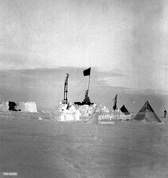 From the Ponting Collection Captain Robert Falcon Scott Photographer Scotts Antarctic Expedition 1910 1912 A tent set up in the snow expedition camp