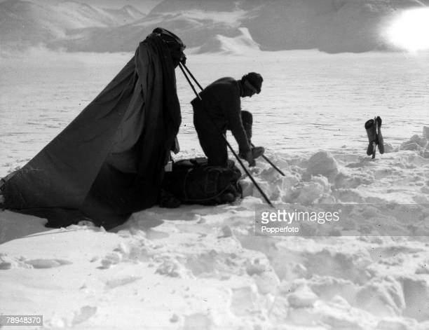 From the Ponting Collection Captain Robert Falcon Scott Photographer Scotts Antarctic Expedition 1910 1912 Dr Wilson outside his tent in deep snow at...