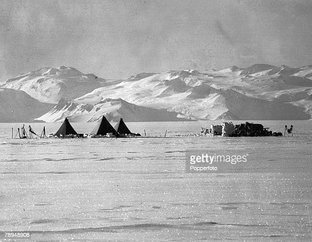 From the Ponting Collection Captain Robert Falcon Scott Photographer Scotts Antarctic Expedition 1910 1912 Tents set up in the snow ear the gateway...