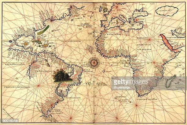 From the Portolan atlas of the Mediterranean Sea western Europe and the northwest coast of Africa World map drawn on an oval projection
