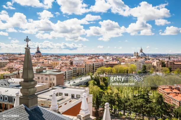from the rooftop of almudena cathedral in madrid - catedral de la almudena fotografías e imágenes de stock