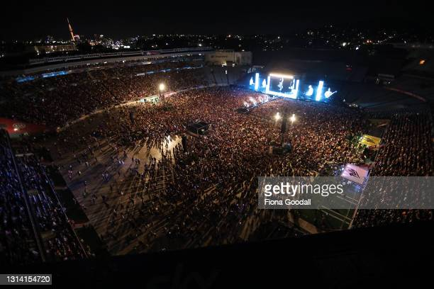 From the rooftop Six60 perform at Eden Park on April 24, 2021 in Auckland, New Zealand. The historic first concert to be held at Eden Park is sold...
