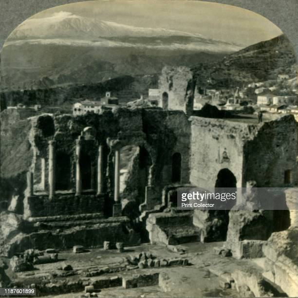 From the Ruins of Taormina's Ancient Greek Theater to Snowcapped Mt Etna Sicily' circa 1930s From Tour of the World [Keystone View Company Meadville...