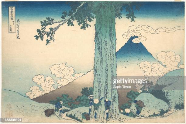 From the series Thirty-six Views of Mount Fuji , Edo period , circa 1830-32, Japan, Polychrome woodblock print; ink and color on paper, 9 3/4 _ 14...