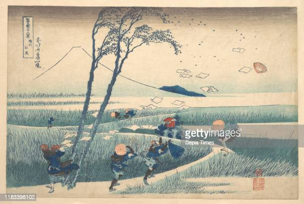 From the series Thirty-six Views of Mount Fuji , Edo period , circa 1830-32, Japan, Polychrome woodblock print; ink and color on paper, 9 5/8 x 14...