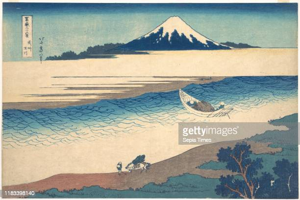 From the series Thirty-six Views of Mount Fuji , Edo period , circa 1830-32, Japan, Polychrome woodblock print; ink and color on paper, 9 7/8 x 14...
