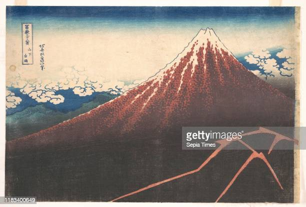 From the series Thirty-six Views of Mount Fuji , Edo period , circa 1830-32, Japan, Polychrome woodblock print; ink and color on paper, 10 1/8 x 15...