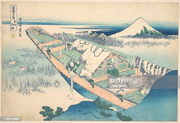 From the series Thirty-six Views of Mount Fuji , Edo period , circa 1830-32, Japan, Polychrome woodblock print; ink and color on paper, 9 11/16 x 14...