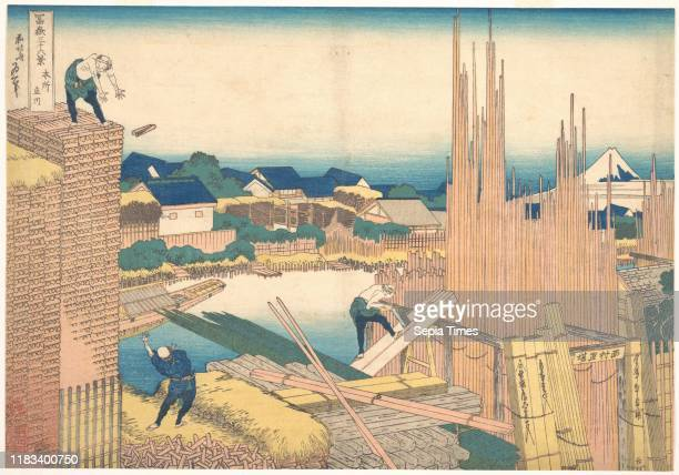 From the series Thirty-six Views of Mount Fuji , Edo period , circa 1830-32, Japan, Polychrome woodblock print; ink and color on paper, 9 3/4 x 14...