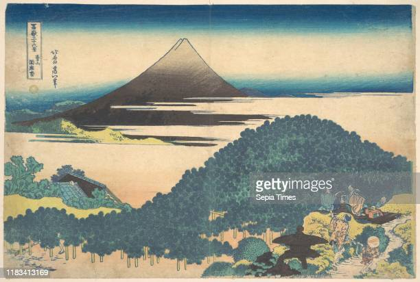 From the series Thirty-six Views of Mount Fuji , Edo period , circa 1830-32, Japan, Polychrome woodblock print; ink and color on paper, 10 x 15 in. ,...
