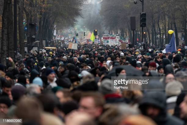From the top of the front of the procession of demonstrators on Thursday, December 5 the first day of a major strike against pension reforms, a major...