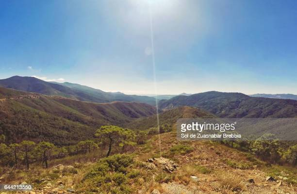 From the top of the mountains in the blue sky and the bright sun above