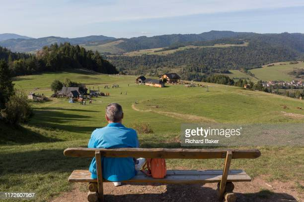From the viewpoint of the hillside chairlift a grass meadow landscape a Polish visitor looks down on the Polish village of Jaworki on 21st September...