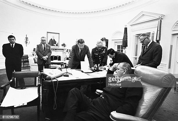 From the White House President Lyndon B Johnson directs Federal troops sent in to quell race riots in Detroit