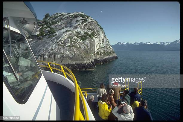 From their tour boat tourists watch birds roosting on a rocky headland of Glacier Bay Glacier Bay National Monument Alaska USA
