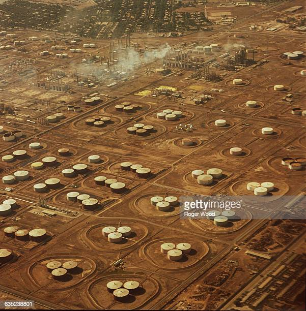From this aerial view the many oil tanks at the Abadan Refinery can be seen