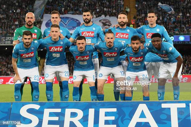 STADIUM NAPLES CAMPANIA ITALY From to Up line Napoli's Spanish goalkeeper Pepe ReinaNapoli's Polish striker Arkadiusz Milik Napoli's Spanish defender...