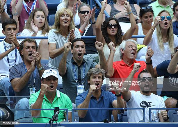 From top Ana Maria Parera mother of Rafael Nadal Xisca Perello Maria Isabel Nadal Raul Sebastian Nadal Toni Nadal Carlos Costa cheer for Rafael Nadal...