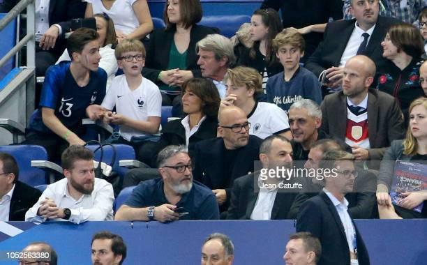 From top Bernard Kouchner Nathalie Iannetta Pascal Obispo Franck Ballanger attend the UEFA Nations League A group one match between France and...
