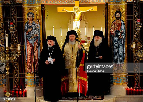 From top left Metropolitan Isaiah Greek Orthodox archbishop of the Metropolis of Denver Bishop Basil of Wichita and MidAmerica of the Antiochian...