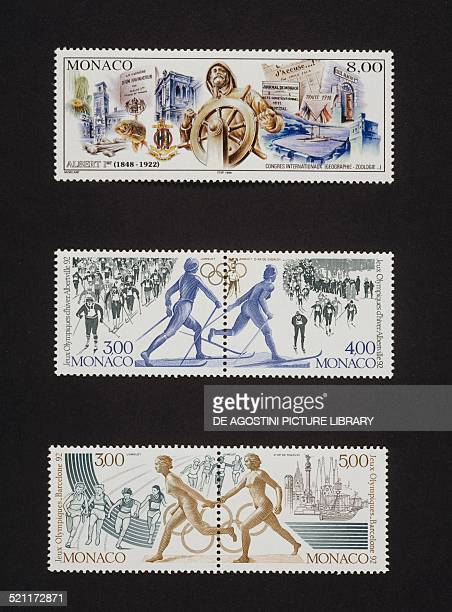From top postage stamp commemorating the 150th anniversary of the birth of the Prince of Monaco Albert I 1998 diptych commemorating the Olympic...