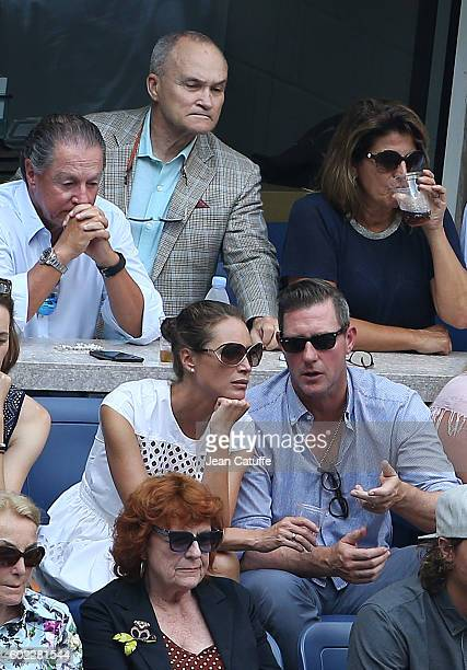 From top Ray Kelly below Christy Turlington and husband Ed Burns attend the women's final at Arthur Ashe Stadium on day 13 of the 2016 US Open at...