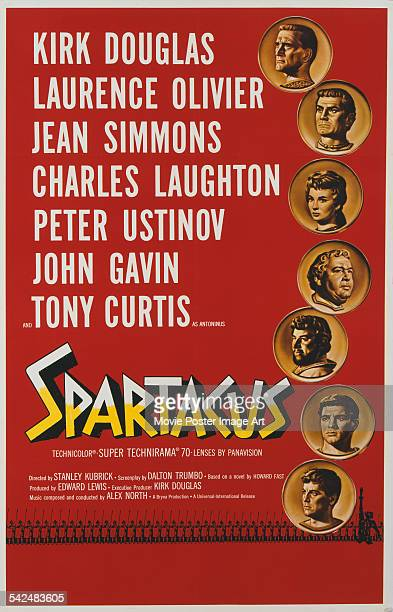 From top to bottom actors Kirk Douglas Laurence Olivier Jean Simmons Charles Laughton Peter Ustinov John Gavin and Tony Curtis appear on the poster...