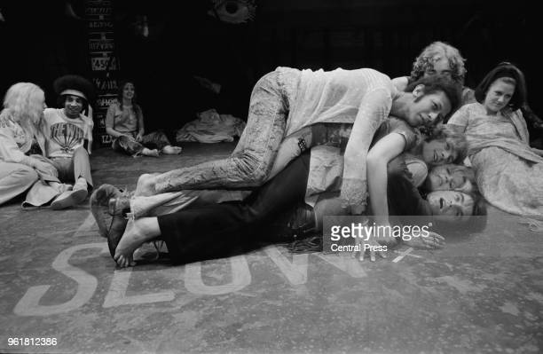 From top to bottom actors Peter Straker Paul Nicholas Annabel Leventon and Oliver Tobias during rehearsals for the musical 'Hair' at the Shaftesbury...