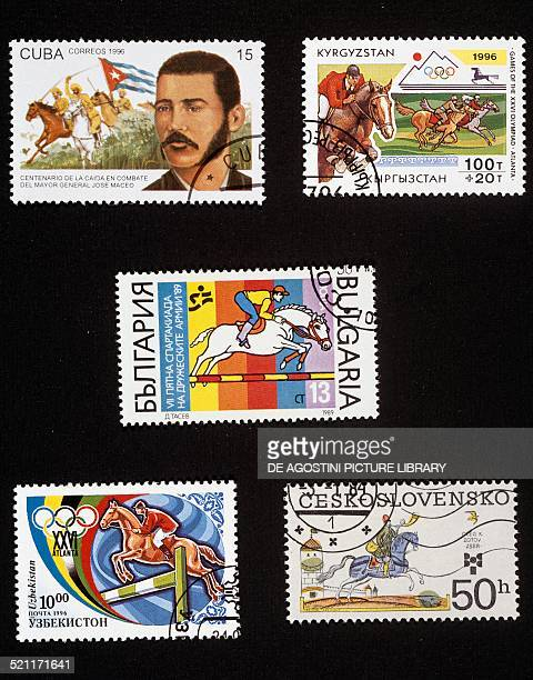 From top to bottom and from left to right postage stamp commemorating the centenary of the death of Jose Maceo with a portrait of the general and a...