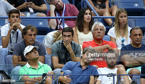 From top Xisca Perello Maria Isabel Nadal Raul Sebastian Nadal Toni Nadal Carlos Costa look on during Rafael Nadal of Spain 4th round match on day 7...