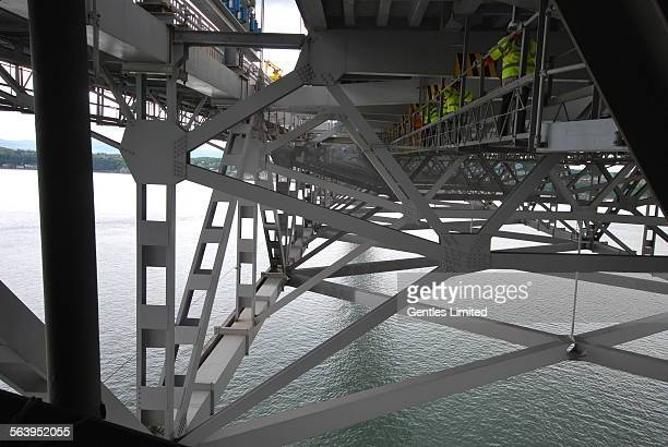 From under the roadway the structure of the road deck is more visible