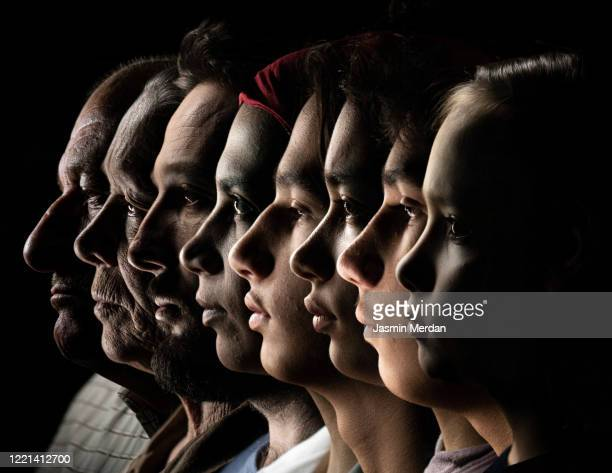 from young to old people faces in row - profile stock pictures, royalty-free photos & images