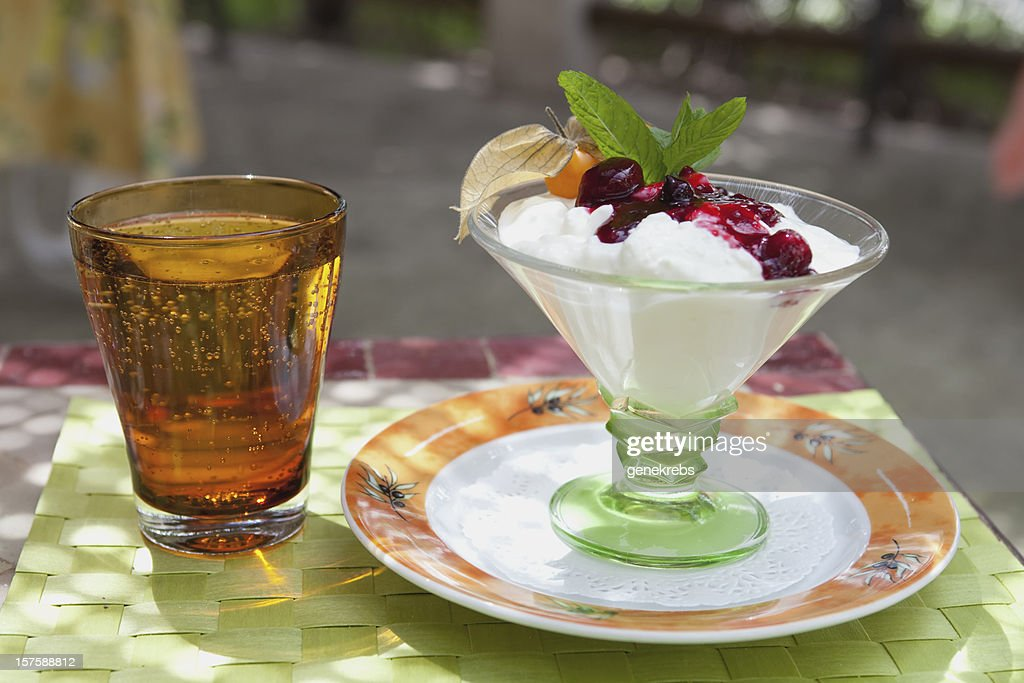 Fromage Blanc Dessert with fresh fruit served in Provence : Stock Photo