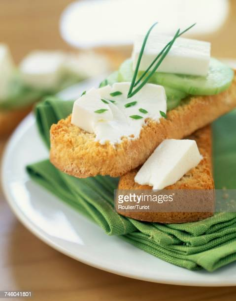 fromage frais and cucumber on bread