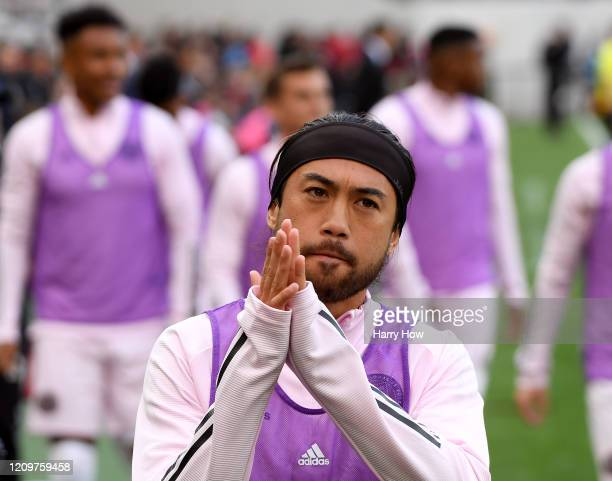 Fromer Los Angeles FC Lee Nguyen of Inter Miami CF acknowledges applause from the crowd as he warms up during the first half at Banc of California...