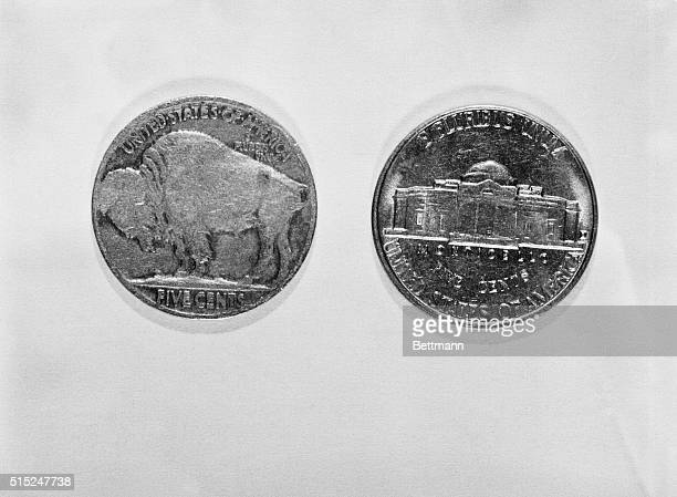 Front and back of a hollow nickel used to carry secret codes by Soviet spy Vilyam Genrikovich Fisher know by the alias Rudolf Ivanovich Abel