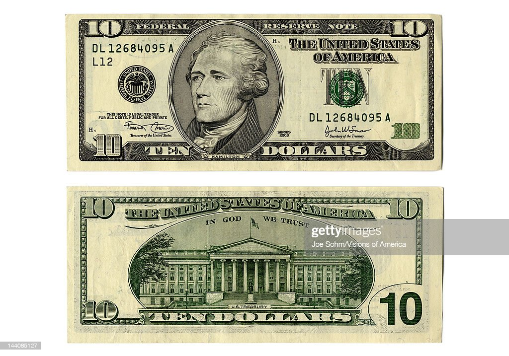 Front and back side of the new ten dollar bill : News Photo