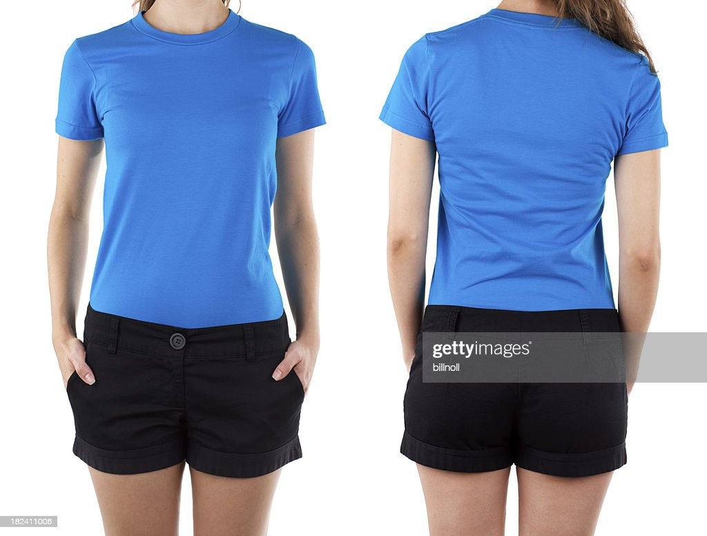 Front and rear view of woman wearing blue shirt : Stockfoto
