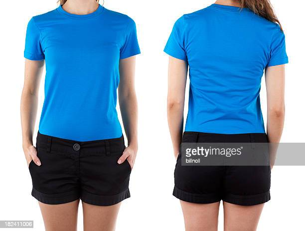Front and rear view of woman wearing blue shirt