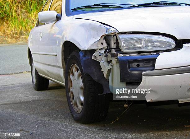 automobile crash front bumper damage on white car - bumper stock pictures, royalty-free photos & images