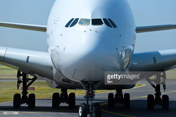 Front Close-up of a Large Commercial Jet Airplane