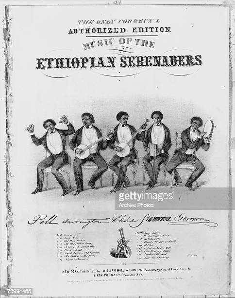 Front cover and sheet music of 'Music of the Ethiopian Serenaders' a touring blackface minstrel troupe New York USA circa 18301860