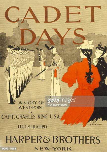 Front Cover for Cadet Days by Capt Charles King USA pub New York 1894 colour lithograph